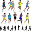 marathon runners - vector