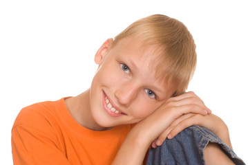 boy in the orange shirt