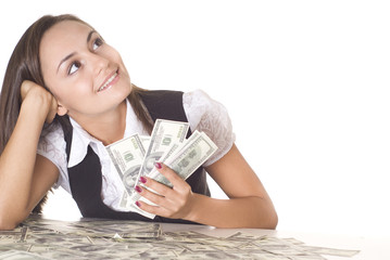 happy woman with the money