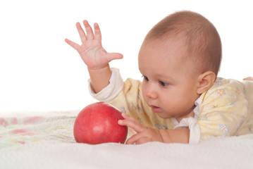 nice baby and apple