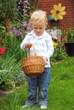 Blond child finding easter eggs