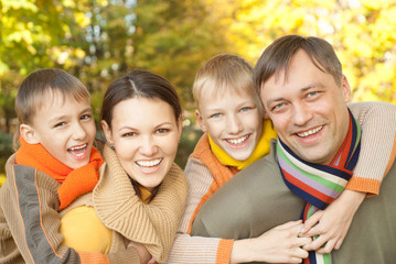 happy familyon the nature