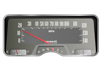 Retro car dashboard - vintage speedometer