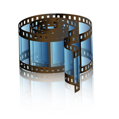 Blue Photo film reel with reflection