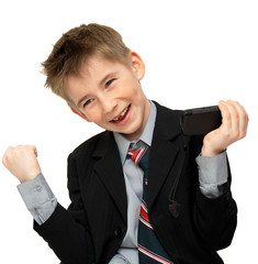 joyful boy in a suit