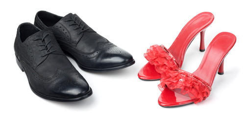 red womens shoes and black mens shoes