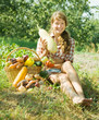 girl with  basket of  vegetables
