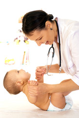 Doctor with newborn