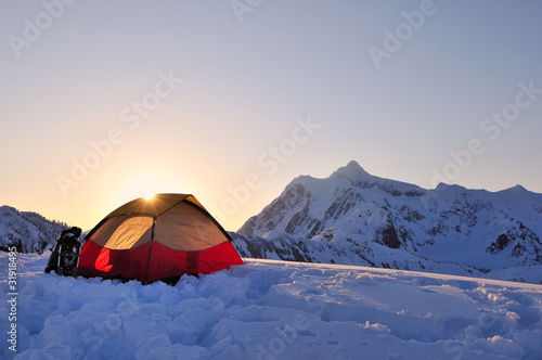 Tent and mount Shuksan at sunrise