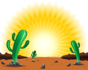 Deserto Messicano con Cactus-Mexican Desert Background-Vector