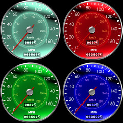 Speedometers or dashboard for cars colors