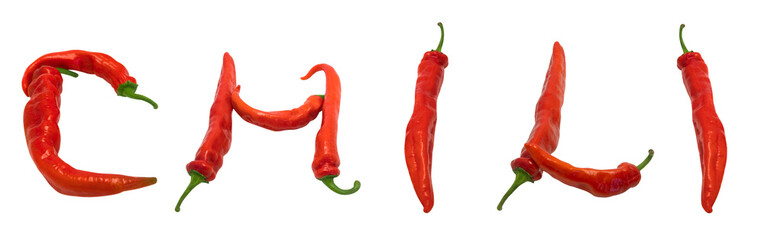 CHILI text composed of chili peppers