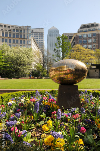 Golden egg sculpture in Westferry Circus Gardens, London