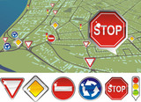 signs priority to regulate the order of roundabouts poster