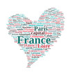 France word heart isolated on white background
