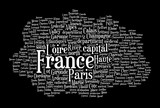 France word cloud on black background