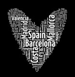 Spain Words Heart isolated on black background