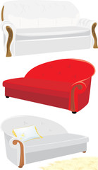 Three sofas isolated on the white. Vector