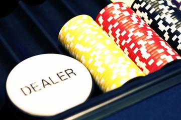 Casino card dealer sign