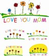 Stylized vector flowers with words Love you mom