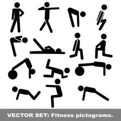 Vector set: fitness pictograms