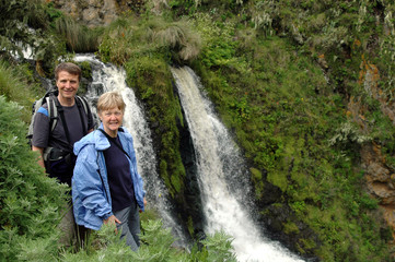 Senior couple at waterfalls