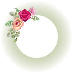 Cadre vert amande fleuri de roses