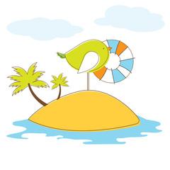 Bird in island. Vector Illuatration