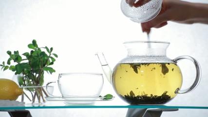 Herbal Tea in clear glass teapot