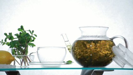 Herbal Tea in clear glass teapot