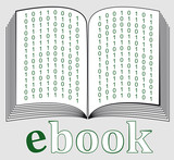 ebook icon with green binary code poster
