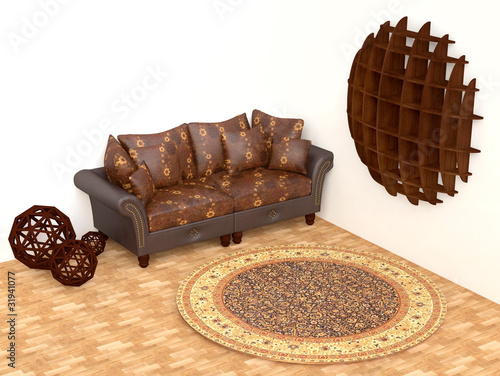 Modern Interior with Sofa and Round Carpet
