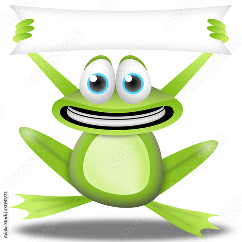 cartoon frog with banner