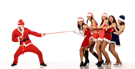 Santa Claus pull five women