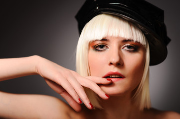 Sensuality model with blonde hair