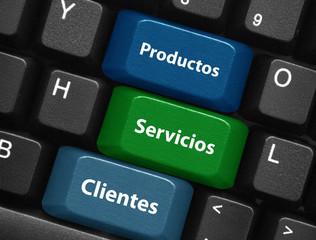 """Teclas """"Productos - Servicios -Clientes"""" (teclado botón web)"""