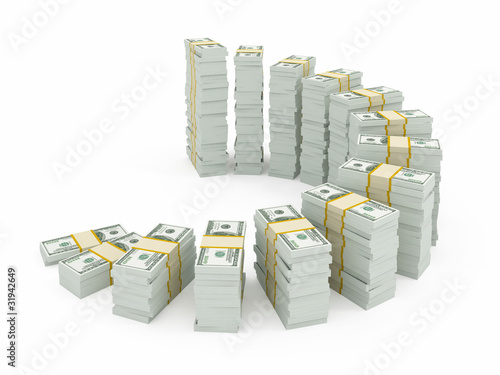 Dollar currency stacks isolated on white