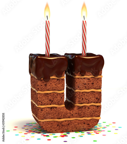 letter U shaped chocolate birthday cake