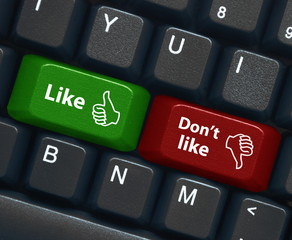"""LIKE"" & ""DON'T LIKE"" Keys (thumbs up recommend share buttons)"