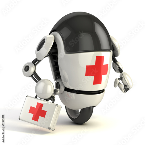 robot medic with the first aid sing holding the first aid kit