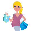 Happy pregnant mother on shopping for baby boy. VECTOR