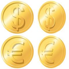 Gold coins. Euro and dollar. Vector EPS 8.