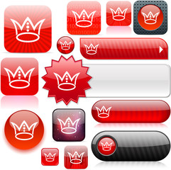 Crown red high-detailed icons.
