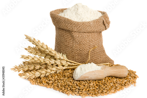 flour in small burlap sack - 31948045