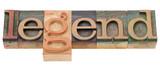 legend in letterpress type poster