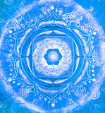 abstract blue painted picture with circle pattern, mandala of vi