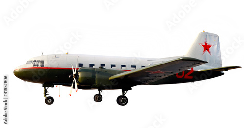 world war two lend-lease retro propeller airplane dc-3 or li-2 i