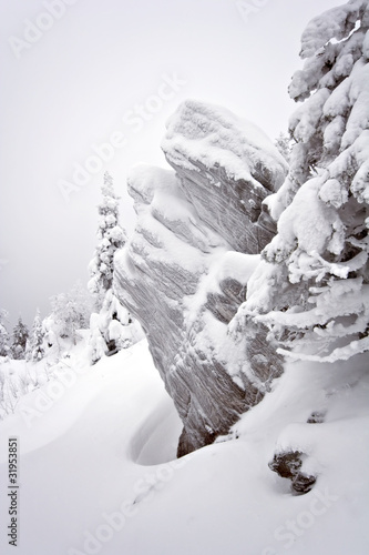 Snow-covered rocks in Ural. Siberia.Taiga.