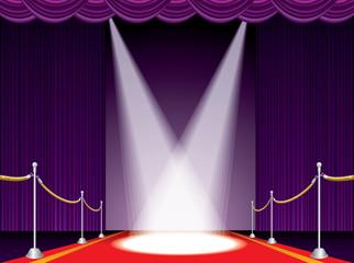 red carpet purple stage