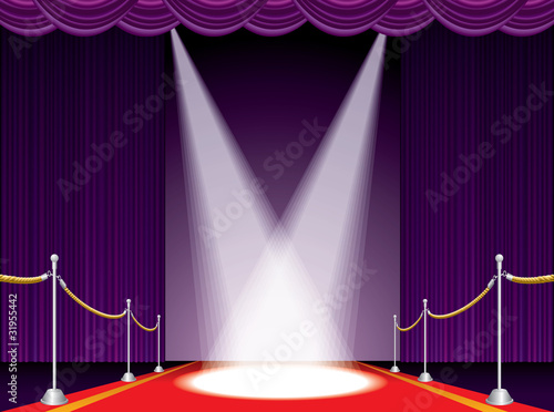 red carpet purple stage